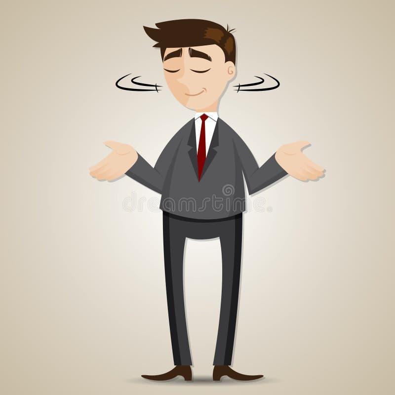 Ombro da encolho de ombros do homem de negócios dos desenhos animados ilustração stock