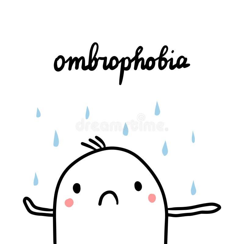 Ombrophobia ręka rysująca ilustracja z ślicznym marshmallow pod deszczem ilustracja wektor