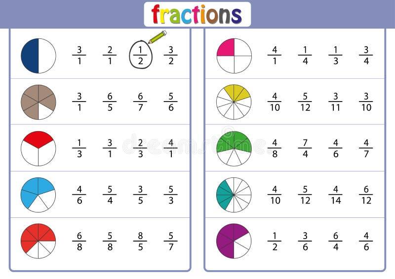 omcirkel de correcte fractie, Wiskunde, wiskundeaantekenvel vector illustratie