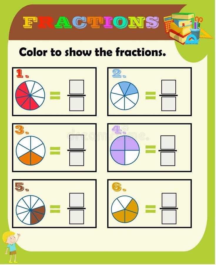 omcirkel de correcte fractie, Wiskunde, wiskundeaantekenvel voor jonge geitjes Fractiestoevoeging, Voor het drukken geschikte Fra stock illustratie