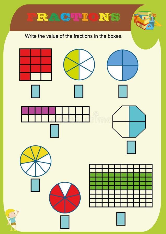 omcirkel de correcte fractie, Wiskunde, wiskundeaantekenvel voor jonge geitjes Fractiestoevoeging, Voor het drukken geschikte Fra vector illustratie