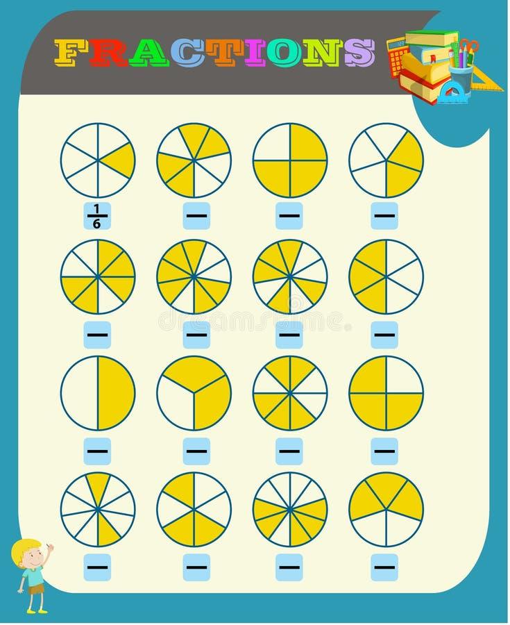 omcirkel de correcte fractie, Wiskunde, wiskundeaantekenvel voor jonge geitjes Fractiestoevoeging, Voor het drukken geschikte Fra royalty-vrije illustratie