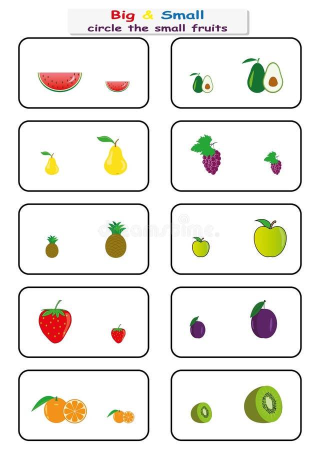 omcirkel de kleine vruchten, vind Groot of Klein aantekenvel voor jonge geitjes, tegenover aantekenvel stock illustratie