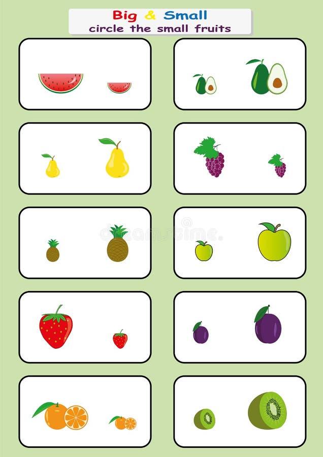 omcirkel de kleine vruchten, vind Groot of Klein aantekenvel voor jonge geitjes, tegenover aantekenvel royalty-vrije illustratie