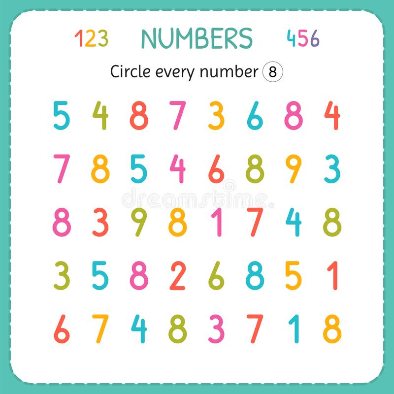 Omcirkel elk nummer Acht Aantallen voor Jonge geitjes Aantekenvel voor kleuterschool en kleuterschool Opleiding om aantallen te s royalty-vrije illustratie