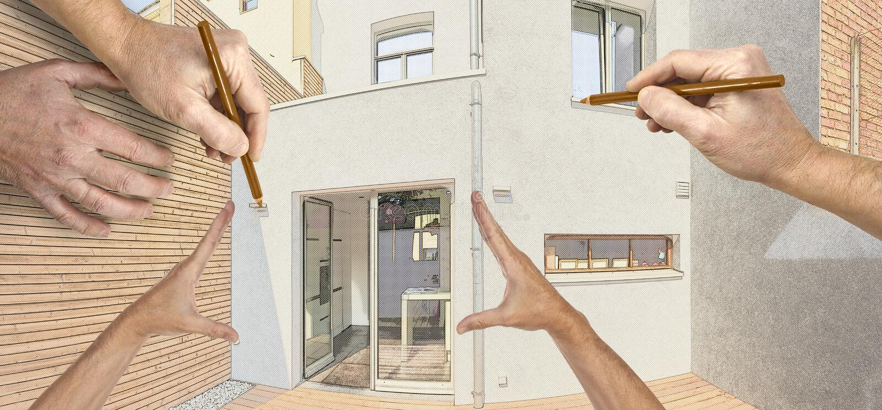 Omdana av borggård med att isolera träcladdingväggen vektor illustrationer
