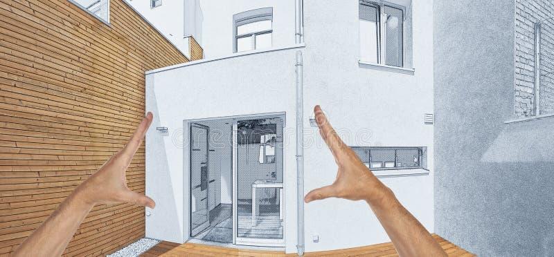 Omdana av borggård med att isolera träcladdingväggen stock illustrationer