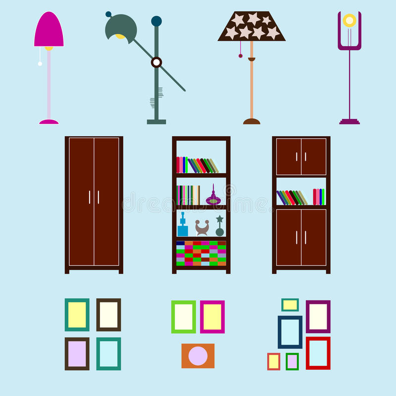 Omdana för hus som är infographic Ställ in plana inre beståndsdelar för cre stock illustrationer