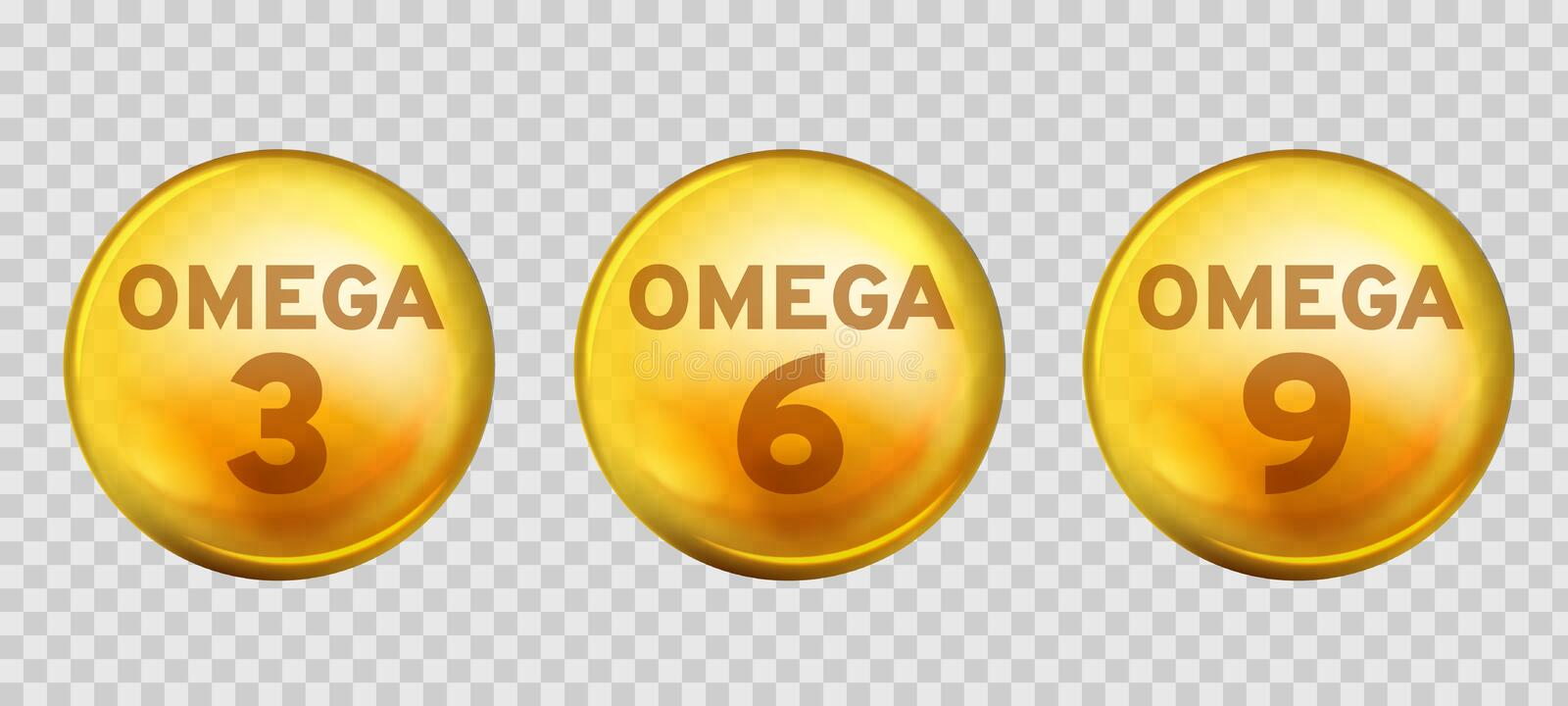 Omega acids. Healthy food supplements fatty acid epa dha 3, 6 and 9 organic vitamin nutrient fish oil, diet golden drops. Vector 3d benefits gold three design stock illustration