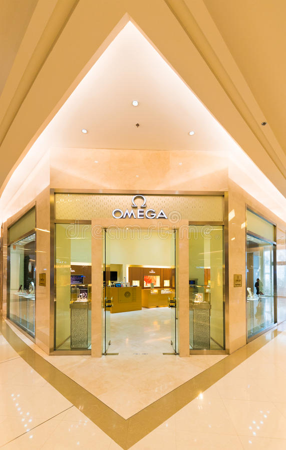 Omega boutique, Siam Paragon-wandelgalerij, Bangkok royalty-vrije stock foto