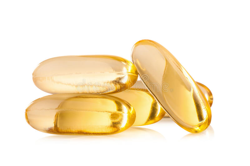 Omega 3 capsules from Fish Oil on white background royalty free stock photography