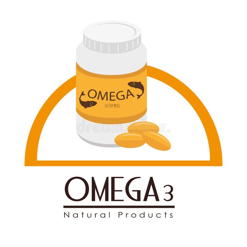 Omega 3 design, vector illustration. stock illustration