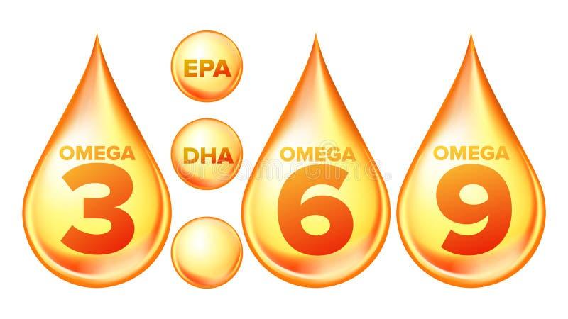 Omega Fatty Acid, EPA, DHA Vector Drops Set stock illustration