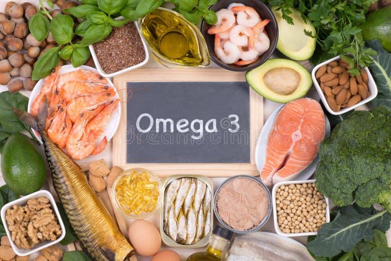 Omega 3 fonti dell'alimento degli acidi grassi immagine stock