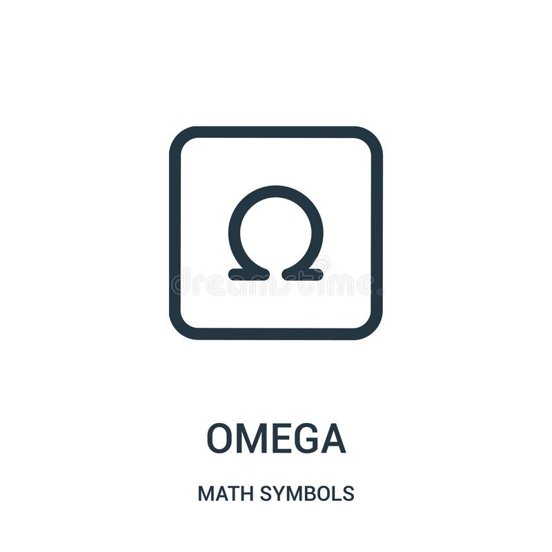 Omega-Ikonenvektor von der Mathesymbolsammlung Dünne Linie Omega-Entwurfsikonen-Vektorillustration vektor abbildung
