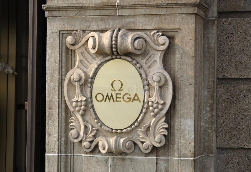 Download OMEGA Logo on the wall editorial stock image. Image of sports - 23144799