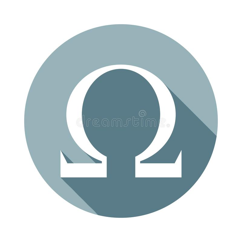 Omega sign icon in Flat long shadow style. One of web collection icon can be used for UI, UX royalty free illustration