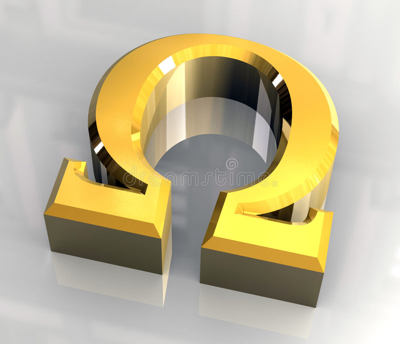 Omega symbol in gold (3d) royalty free illustration