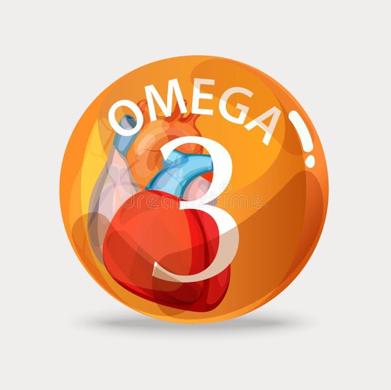 omega 3 Zdrowy jedzenie codziennie ilustracja wektor