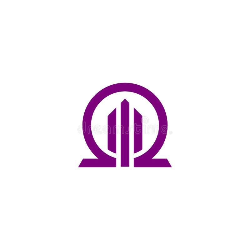 Omegabyggnadslogo royaltyfri illustrationer