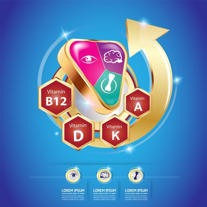 Omegakalcier och vitamin för ungebegreppet Logo Gold Kids royaltyfri illustrationer