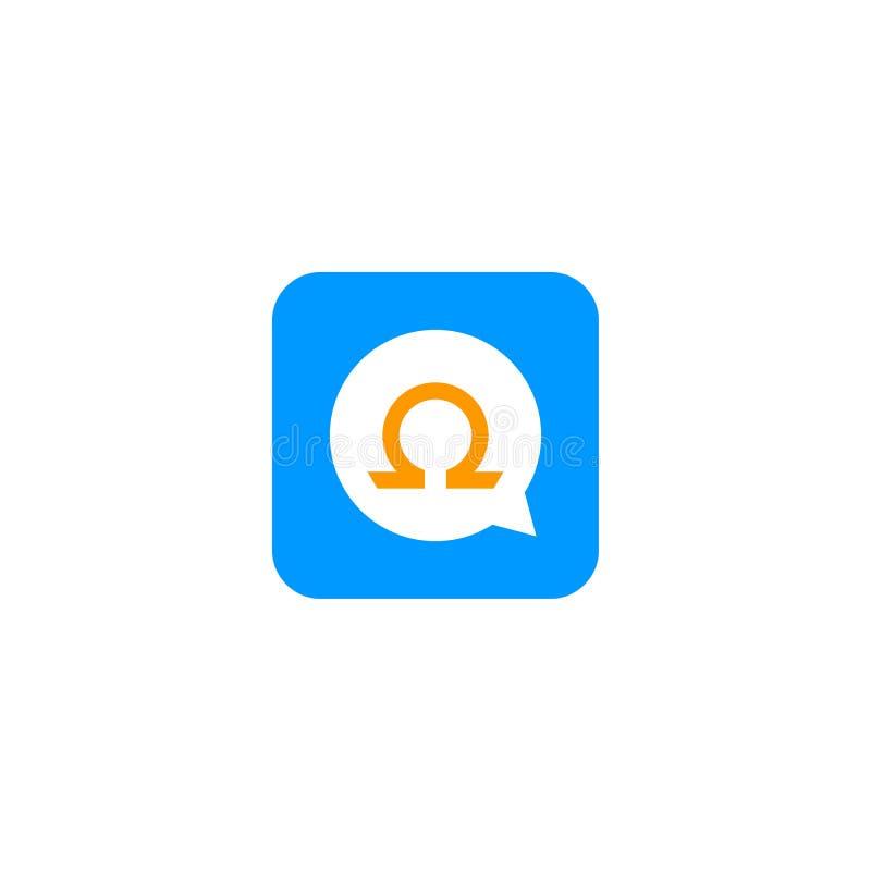 Omegi przesyłanie wiadomości logo ilustracja wektor