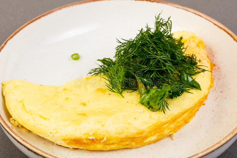 Omelet with dill. In the bowl royalty free stock photos