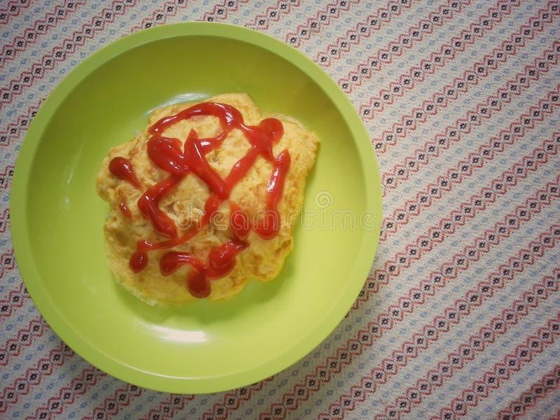 Omelet en rijst royalty-vrije stock foto