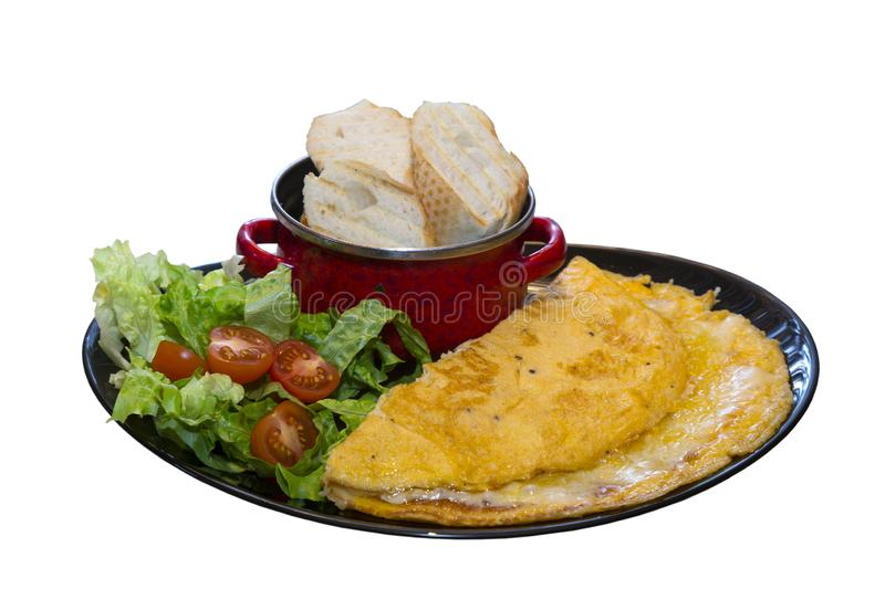 Omelet with cherry tomatoes royalty free stock image