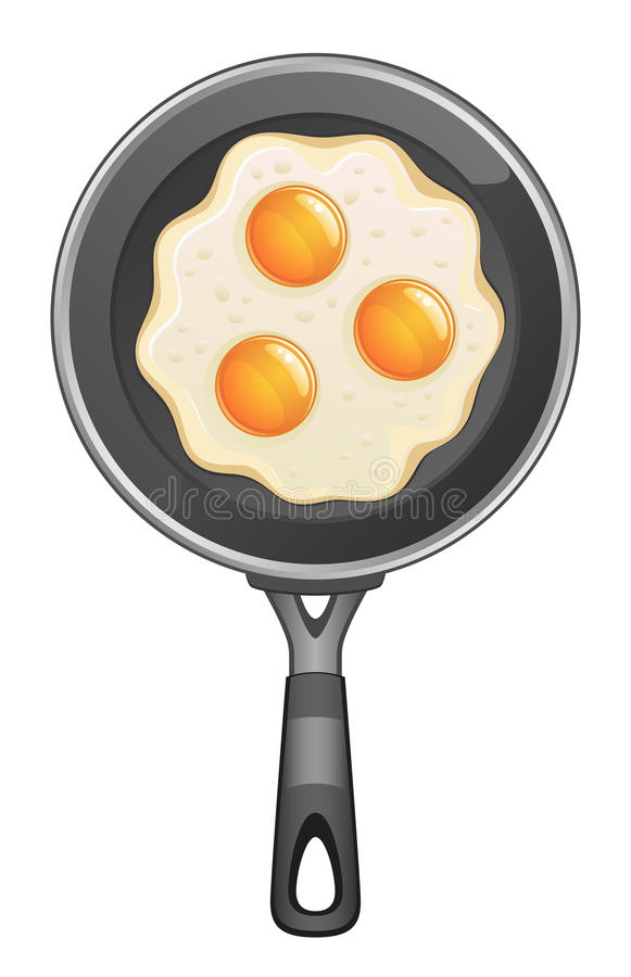 Omelet on frying pan vector illustration