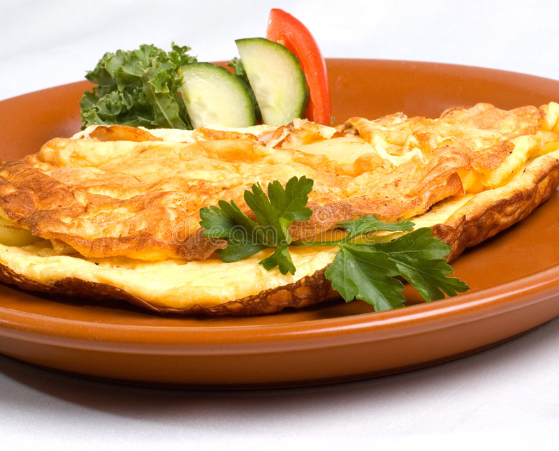 Omelet with Ham & Cheese royalty free stock photo