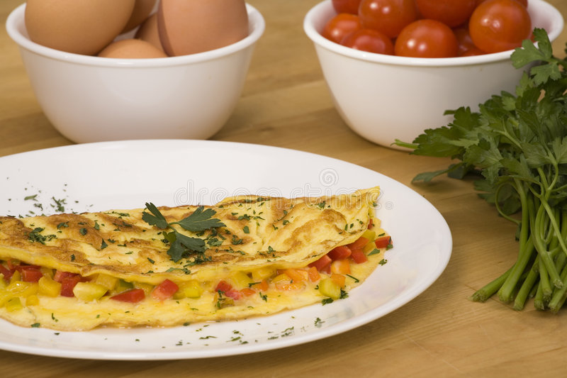 Omelet with ingredients