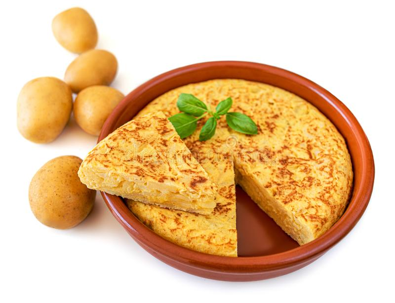 Omelet made of eggs and potatoes  isolated on white background. Spanish Omelette - Traditional tortilla tapas de patatas royalty free stock photography