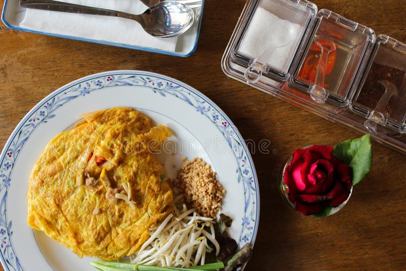 Omelette pad thai. Omelet pad thai inside, aerial view royalty free stock photos
