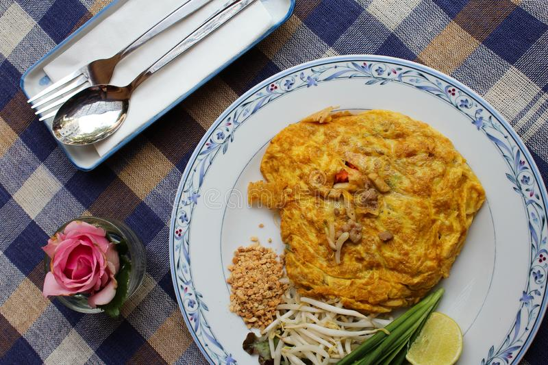Omelette pad thai. Omelet pad thai inside, aerial view royalty free stock image