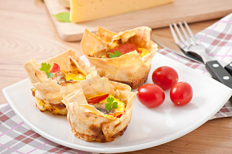 Omelet in pita bread royalty free stock photography
