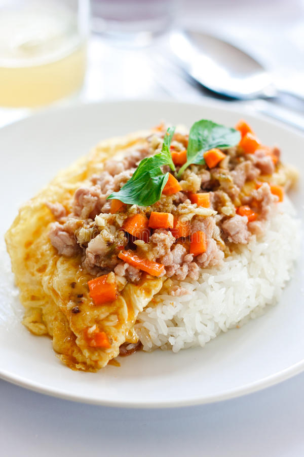 Omelet with Pork Chop and Cooked Rice stock photography