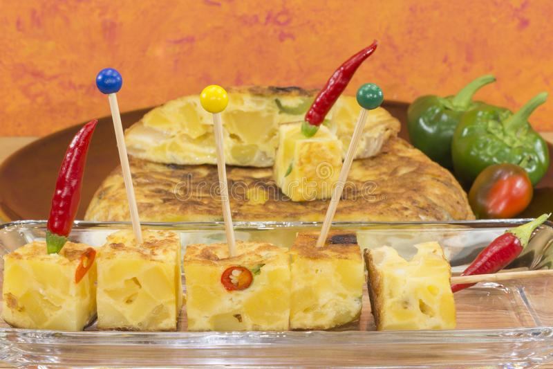 An omelet with potatoes royalty free stock images