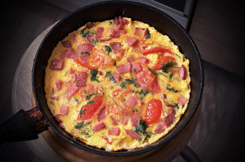 Omelet with sausage stock images