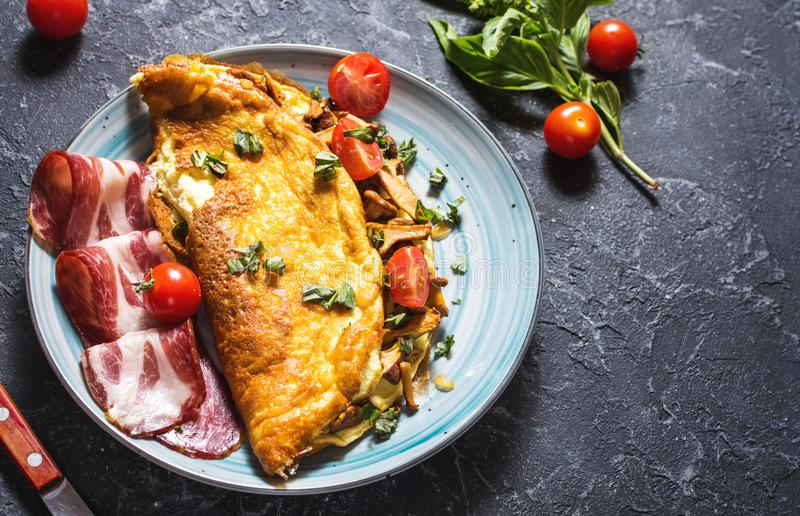 Omelet with tomatoes, mushrooms and bacon. Breakfast on stone background. royalty free stock image