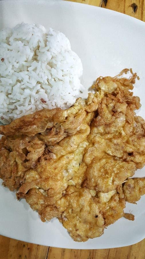 omeleta com arroz branco fotografia de stock