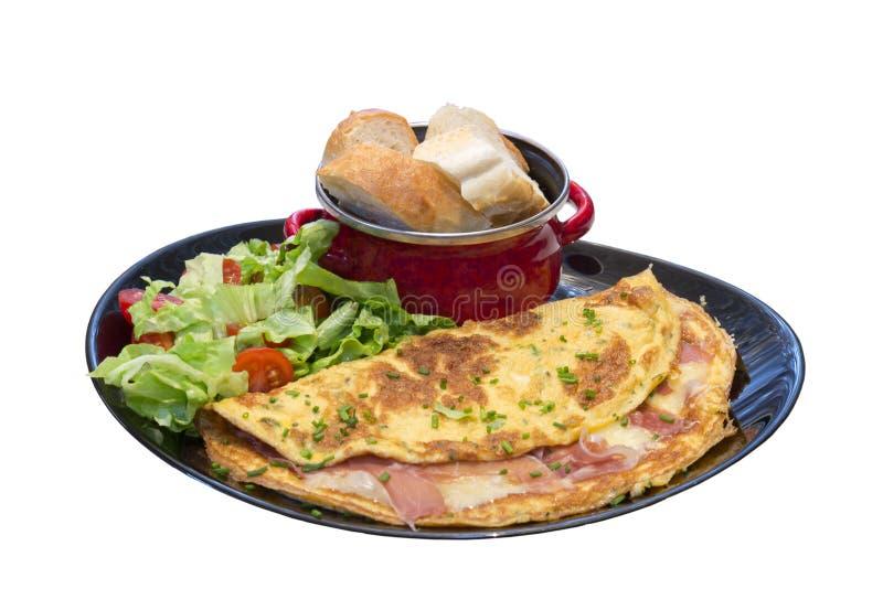Omelett med skinka royaltyfri fotografi