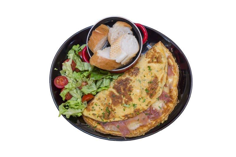 Omelett med skinka arkivbild
