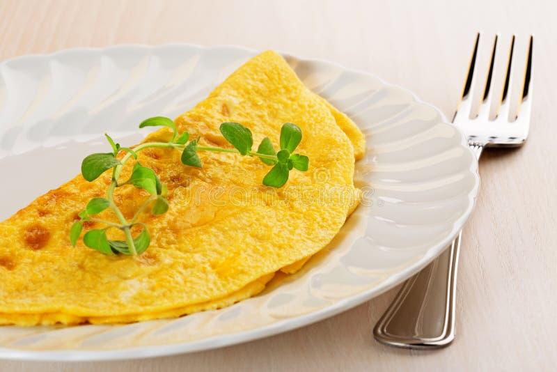 Omelett som garneras med mejram royaltyfria bilder