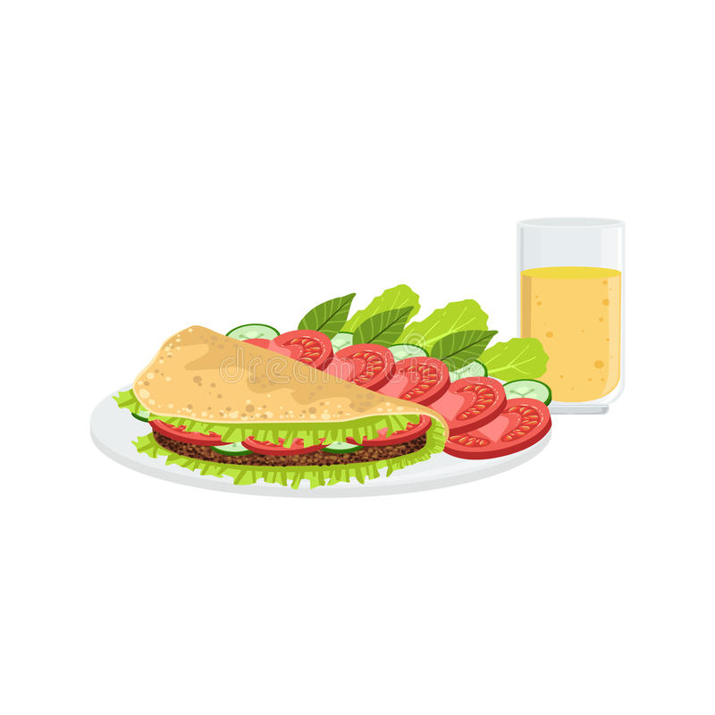 Omelette avec les légumes et le Juice Breakfast Food Drink Set illustration libre de droits
