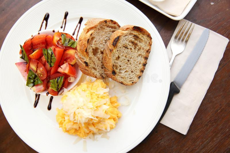 Omelette with bread royalty free stock photo