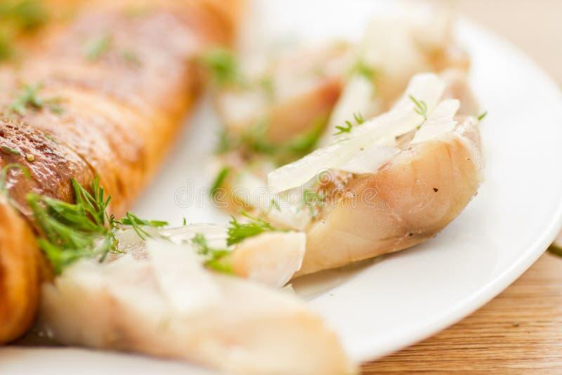 Omelette con lo scombro salato fotografia stock
