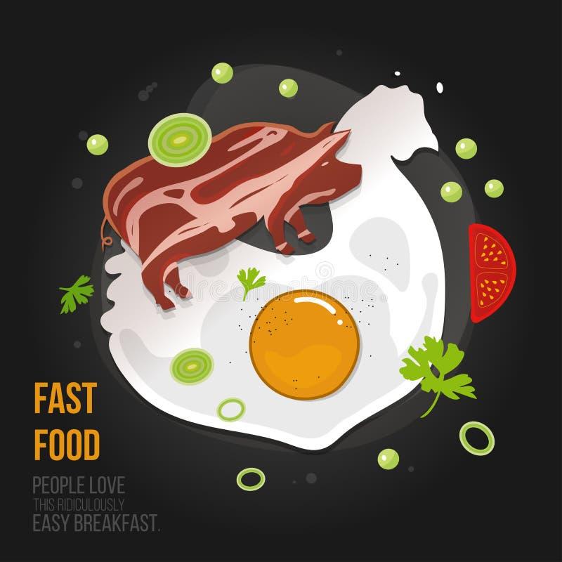 Omelette del pollo di concetto - carne di maiale del bacon e dell'uovo Uovo fresco naturale con bacon fritto in uno stile piano M royalty illustrazione gratis