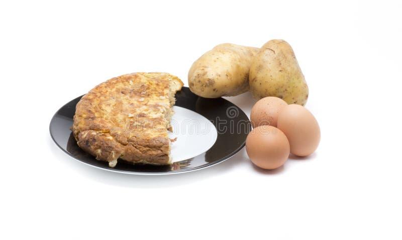 Ingrédients d'omelette espagnole images stock