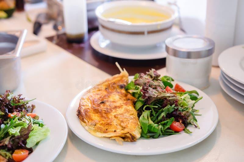 Omelette and fresh salad breakfast stock image